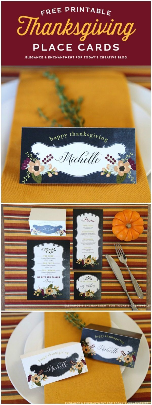 Free Printable Thanksgiving Place Cards | Make Thanksgiving entertaining easy! Decorate an easy Thanksgiving Table with these free printables | Name Cards for Thanksgiving | Get your free download on TodaysCreativeLife.com