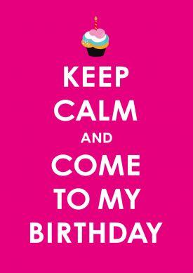 Lustige Geburtstagseinladung In Pink In Keep Calm Look Mit Cupcake.