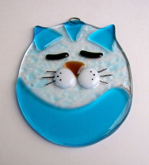 Fused Glass Suncatcher Fat Cat Turquoise por CDChilds en Etsy
