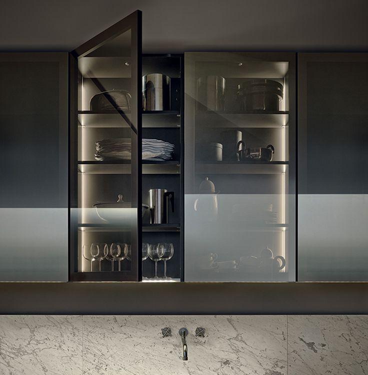 Kitchens With Glass Cabinet Doors: Modular Kitchens: Kitchen Minimal [a] By Varenna Poliform