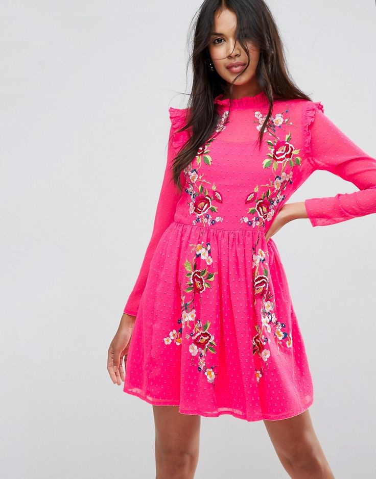 ASOS Pretty Embroidered Mini Skater Dress on Dobby - Pink