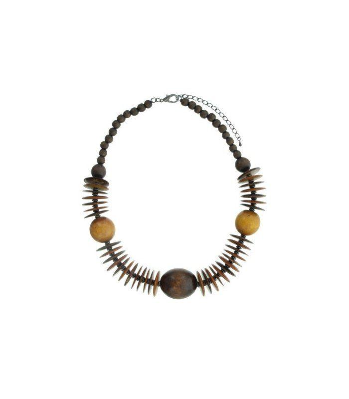Bruine houten kralen halsketting   Mooie kralen halsketting van A-zone   Lengte van de halsketting is 45 cm   EAN: 8718189377272   A-zone fashion