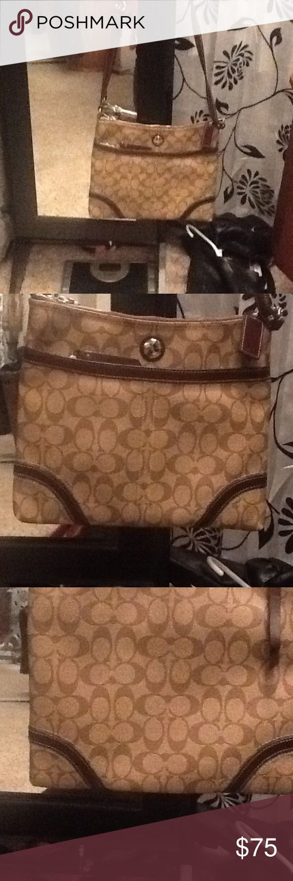 Coach purse Coach large Crossbody Purse. Very Good Condition!!!! Brown . Pouches and zippers ... Coach Bags Crossbody Bags