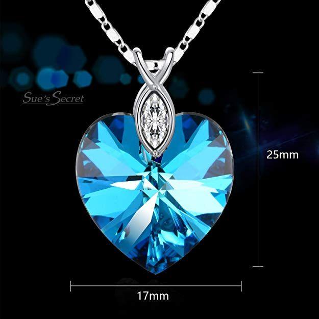 680115ffd SUE'S SECRET Love Heart Crystal Necklace Eternal Love Braveheart Necklace  with Swarovski Elements, Purple Pink Heart shape Neckalce, February  Birthstone ...