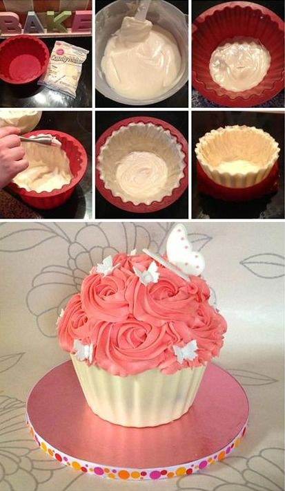 Chocolate shell for giant cupcakes
