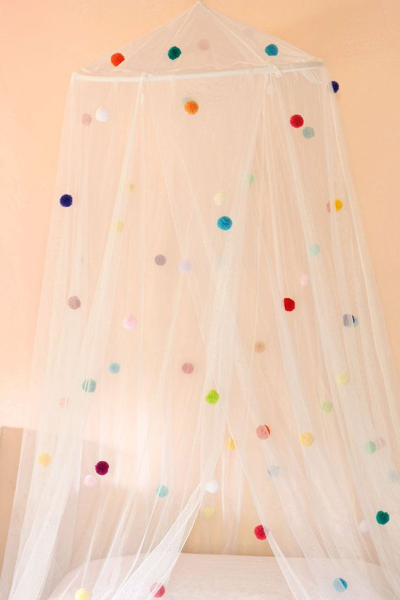 Pom-pom bed canopy by WildTeddy on Etsy