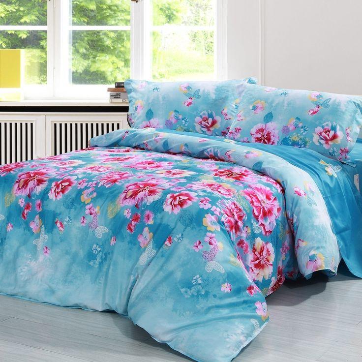 Cornflower Blue and Pink Oriental Garden Petal Print Flower Print Butterfly Print 100% Cotton Twin, Full, Queen Size Bedding Sets