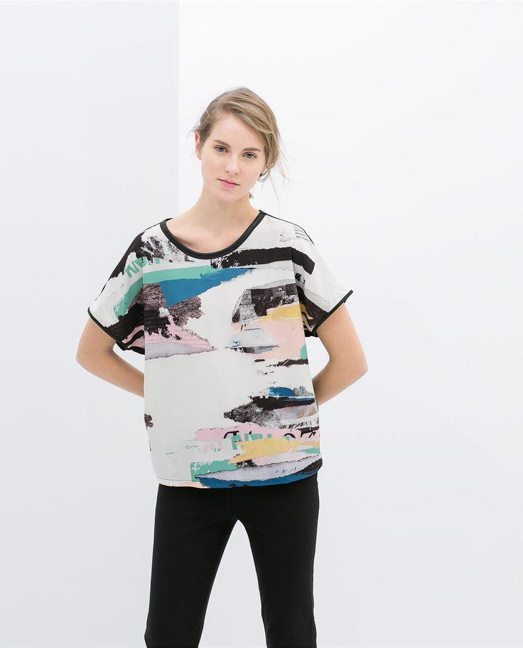 ZARA的图片 1 名称 彩色筆劃 T 恤