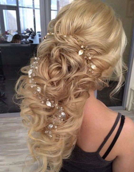 teased curly wedding hairstyle with jewel leaf hair vine via elstile /  / http://www.himisspuff.com/top-100-wedding-dresses-2017-from-top-designers/3/