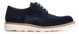 Eleventy Men's Blue Suede Lace-up Shoes.