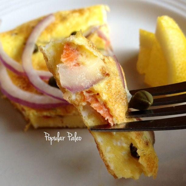 The Lox Frittata on http://www.PopularPaleo.com   What a creative way to eat lox on the Paleo diet: make a frittata! #paleo #paleodiet #glutenfree