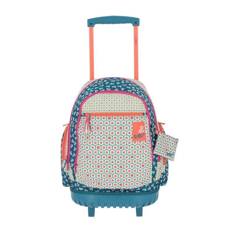 Gladiola es el modelo de esta magnifica mochila Totto con ruedas se puede llevar también a la espalda de gran calidad