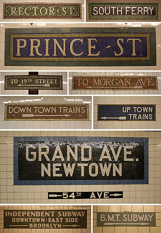 New York City subway signs.  I have my own photo of rector street that i took!