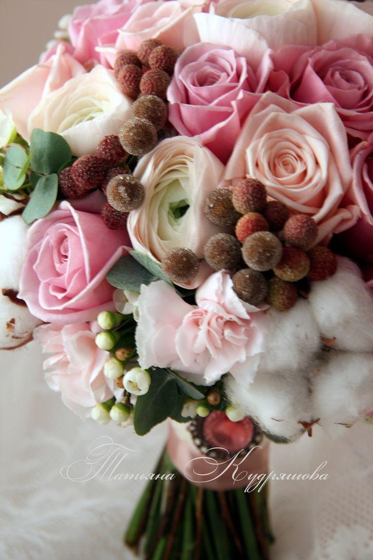 Розово-шоколадный букет невесты, Свадебное оформление и флористика, Текст