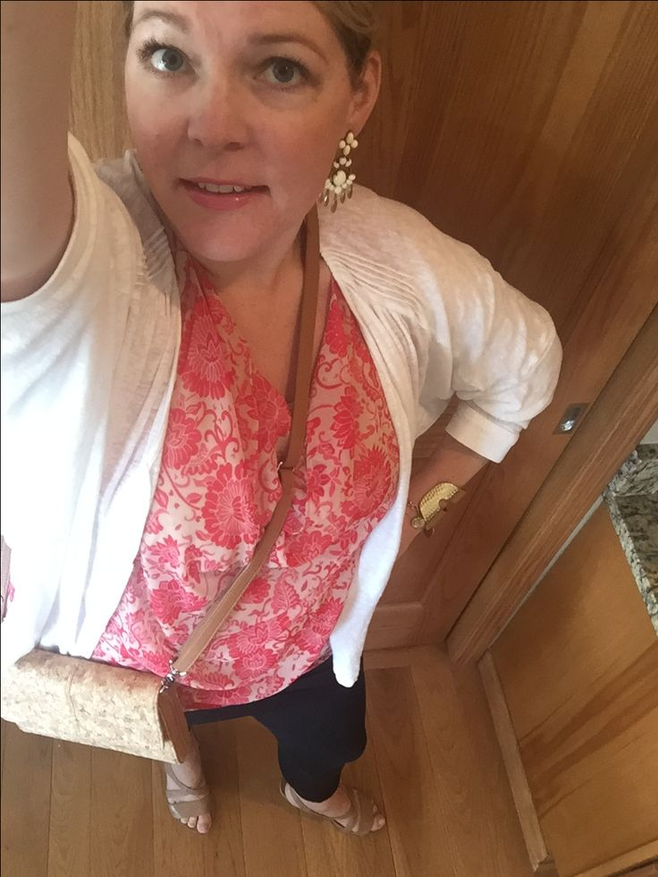 One of MY FAVORITE Summer Looks!!! ☀️ Spring 16 Vita blouse, M'Leggings... And cardigan from Spring 14.... Complete with Spring 15 cuff and Fall 14 bracelet... Shout out to Stella and Dot (earrings) and adorable cork cross body from 31