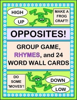 """Do your kids need Multi-Sensory Learning? Play a GROUP GAME, and make decorated FROG CRAFTS to use during game play. Teach with humorous Rhymes using 12 """"OPPOSITES"""" WORD PAIRS. Great ALTERNATING MOVEMENTS for brain development!  Includes 24 WORD WALL CARDS. (17 pages) From Joyful Noises Express TpT! $"""