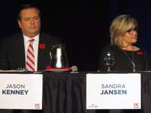 Alberta's politicians lean left and right, but where's the centre?  , and Sandra Jansen sit next to each other during the Alberta Progressive Conservative party leadership forum in Red Deer on Nov. 5, 2016. The only two female candidates in the Alberta Progressive Conservative leadership race are calling it quits, one of them citing Trump-style intimidation tactics in the campaign.