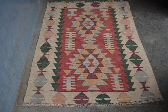 Taille: 5'4 x 3'6 Afghan Kilim fait main Vintage par Kamrancarpets