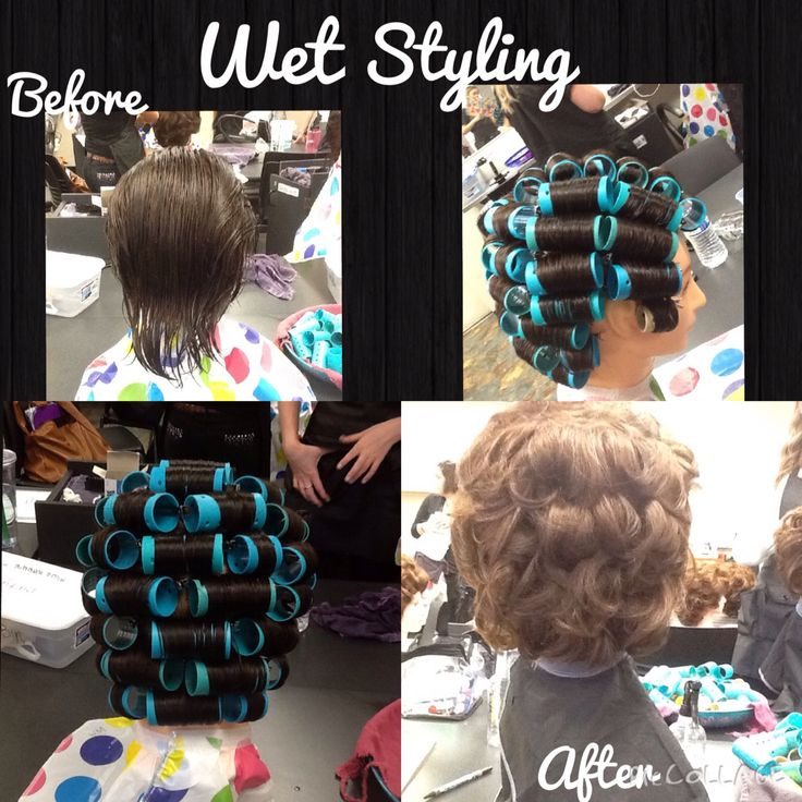 Bricklay wet set using blue gel with comb out