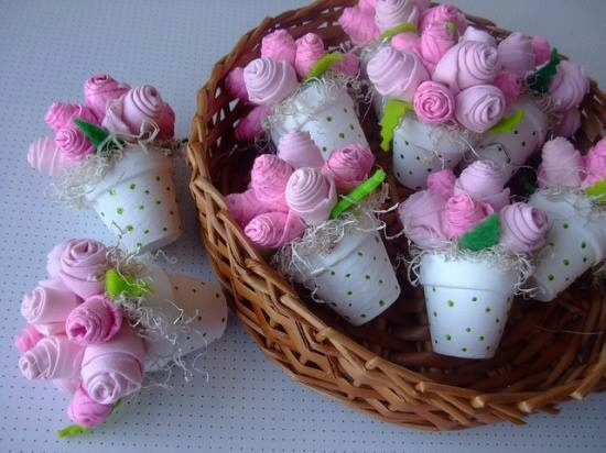 BABY SHOWER~sock flower pots.