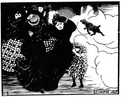 """""""Le coup de vent"""" Félix Valotton gravure  1894"""