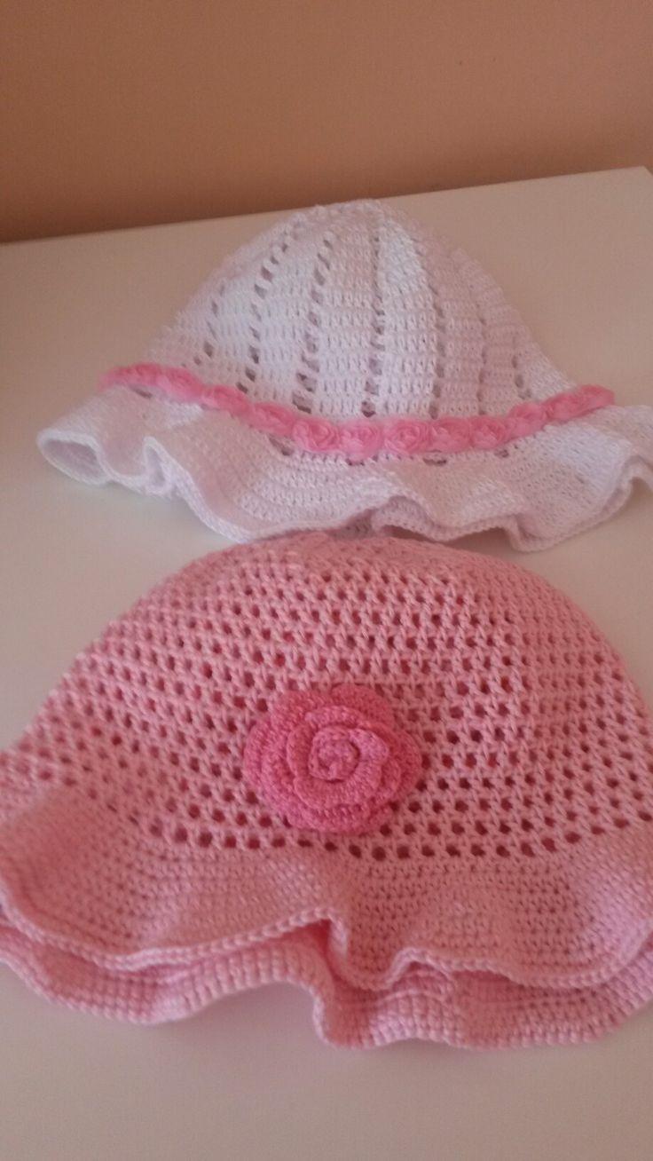 Cappelli di cotone e filo firmate borseefilati crochet ganchillo knitting uncinetto cappello estivo per bambina scarpette shoes zapatito gorro