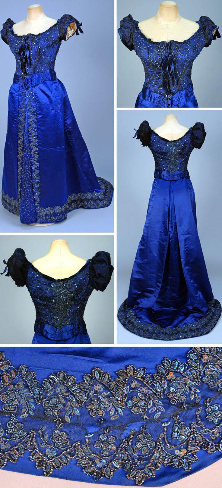 Evening dress, Worth, circa 1880s. Two-piece sapphire blue silk satin. Boned bodice covered in black tulle studded with beads and sequins. Short puffed sleeves, ruched and pleated waistband. Skirt has studded front insert flanked by beaded border with Van Dyke points. Matching decoration at tulle hem band. Taffeta underskirt with pleated net and lace hem ruffle. Via Whitaker Auctions.