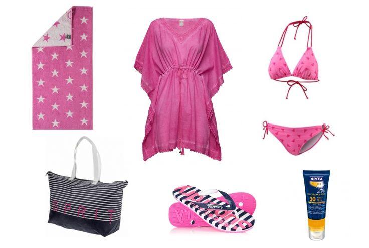 Ganz in Pink an den Strand - aber Sonnenschutz nicht vergessen! - Erstellt mit collageAd