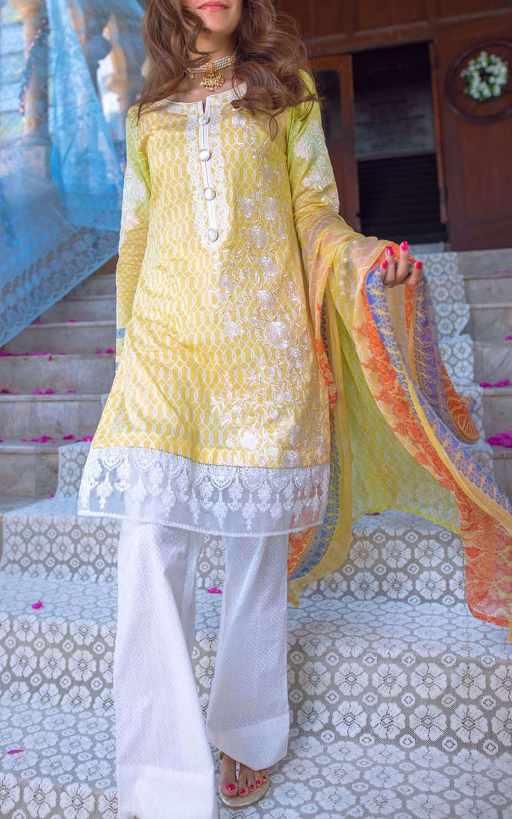 Buy Yellow Embroidered Cotton Lawn Dress by Alkaram 2016 Contact: 702-7513523 Email: info@pakrobe.com Skype: PakRobe