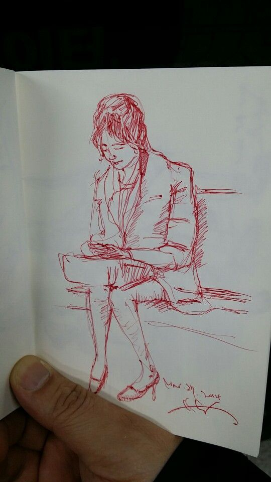 woman in tube, rough sketch