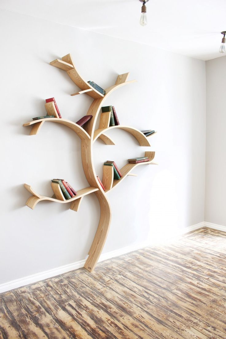 Wooden shelves tree tree branch bookshelf diy tree shaped shelf - Find This Pin And More On Home Design Culturenlifestyle Homemade Bookshelves Constructed From Real Oak Resemble Trees