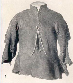 1690 - Jacket of Gunnister Man, a bog body found in Shetland.