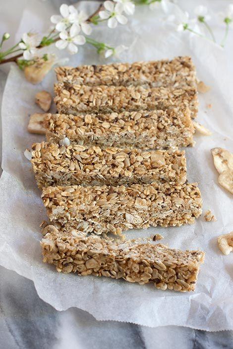 Granola bars with dried bananas and seeds.