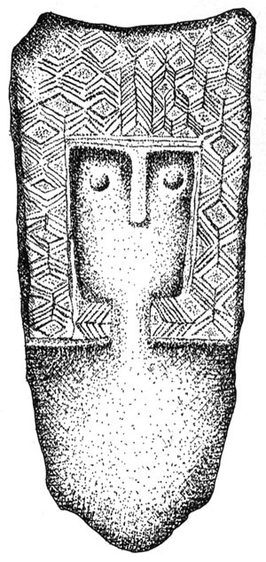 Depiction of, possibly, the neolithic Owl Goddess, from Marija Gimbutas' The Language of the Goddess.