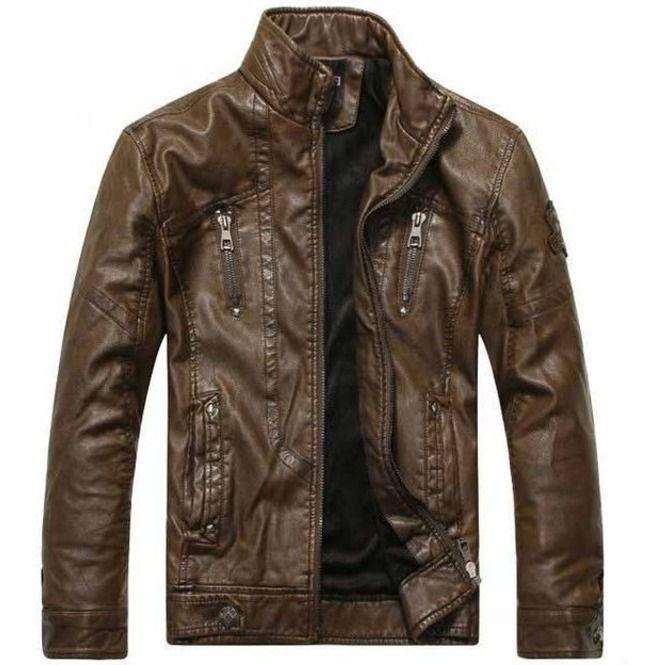 Men Antique Brown Biker Leather Jacket, Biker Leather Jacket Men - Outerwear