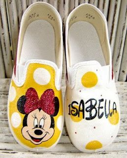 Custom Painted Minnie Mouse Shoes Paint all yellow, with red bow on front