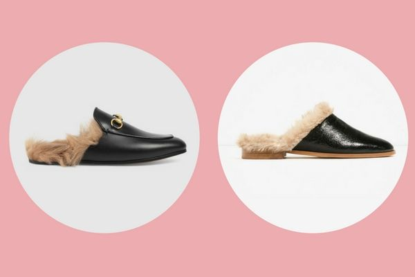 Gucci Princetown leather slipper (€795) vs. Zara lined leather mules (€39,95)