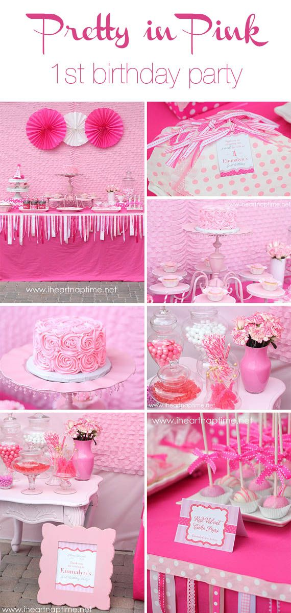 DIY Pretty in pink 1st Birthday party on iheartnaptime.com -so cute!