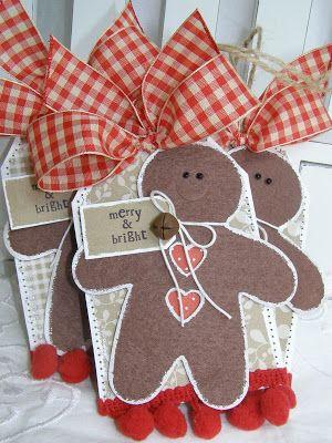 tag card paper sizzix gingerbread cookie man -  til og fra kort vedhæng med kagemænd honningkage mand honning kage mænd - annettes paper bistro