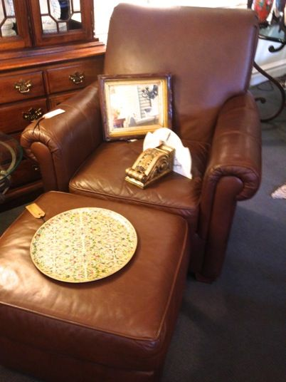 Best 25 Leather Chair With Ottoman Ideas On Pinterest