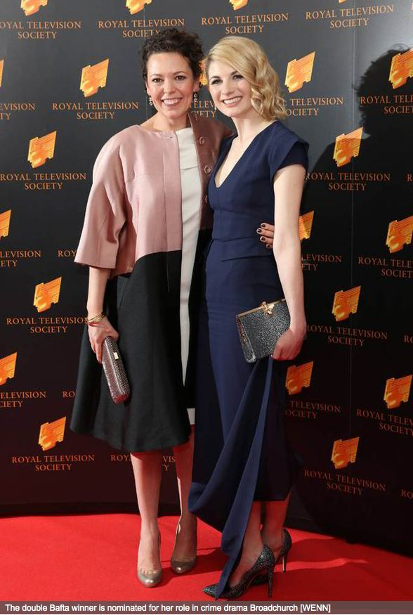 Olivia Colman with co star Jodie Whittaker (Broadchurch) at the RTS Awards 2014