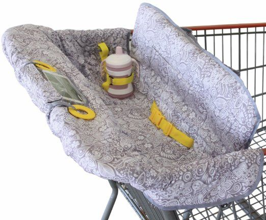 Shopping Cart Cover for Baby or Toddler | 2-in-1 Highchair Cover | Compact Universal Fit | Modern Unisex Design for Boy or Girl | Includes Carry Bag | Machine Washable | Fits Restaurant High Chair