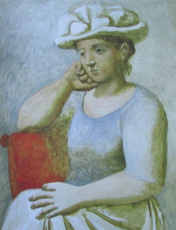 Sitzende Frau mit Hut PABLO PICASSO Kunstdruck Reproduktion Surrealismus