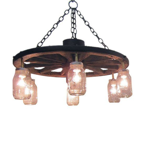 alpha omega western furnishings wwsachan24mj 24 in wagon wheel chandelier alternating length wagon wheel mason jar