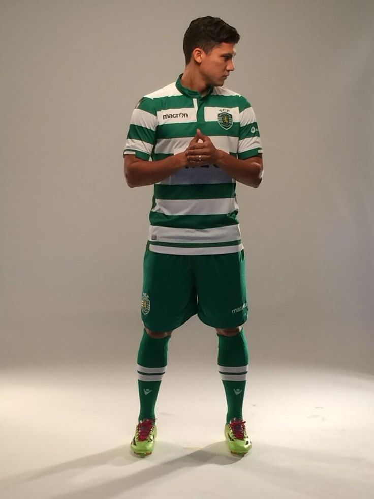 FREDDY MONTERO, wearing the new Macron Home Gear for the season 2014/15. Green shorts for a change