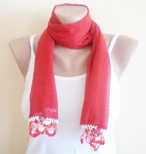 100 cotton very soft scarf soft scarf red scarf by BloomedFlower, $20.00