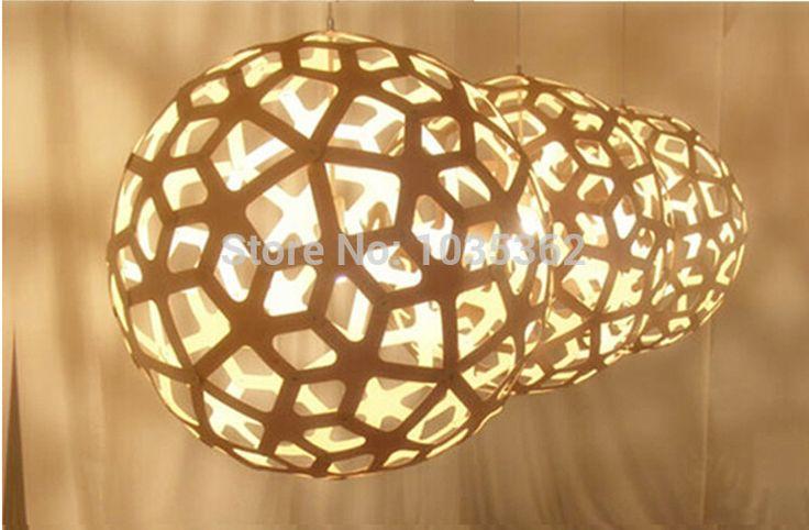 Creatieve lampen hanglampen hout bal lichten woonkamer bar hotel versieren binnenverlichting licht armatuur(China (Mainland))
