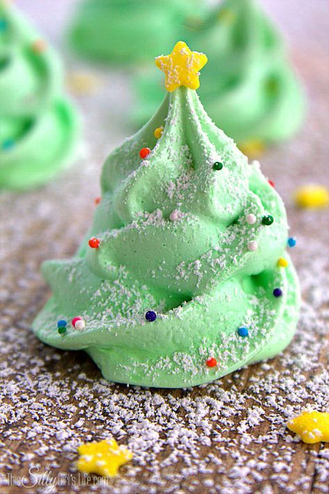 Christmas Tree Meringue Cookies, fun and festive meringue cookies that are light…