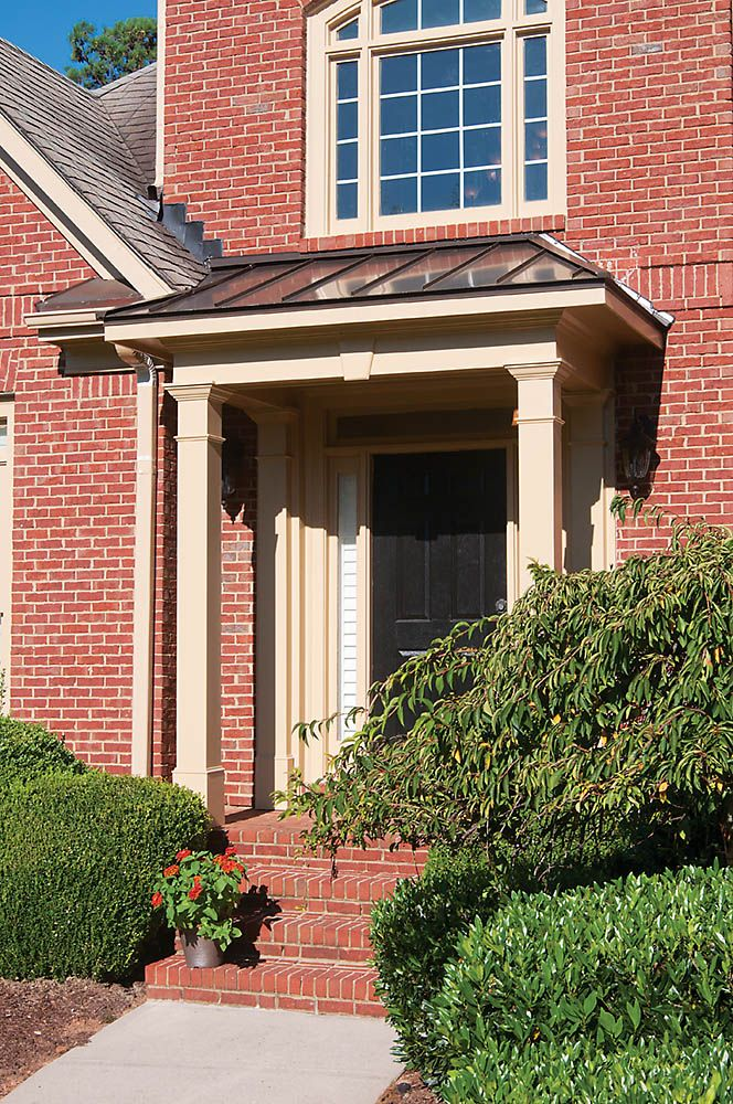 24 best economical flat roof porticos images on pinterest for Front porch roof designs