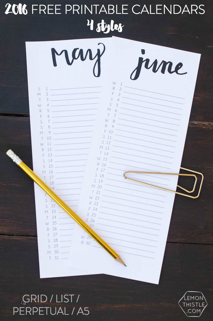 4 Free Printable Calendars- I love the simple handlettering on these!:
